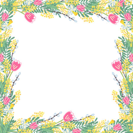 Beautiful square frame with spring flowers. There are daffodils, tulips, mimosas, willow twigs. Great template for social media, greeting cards, banners. Hand drawn vector illustration on transparent