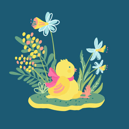 A cute little chicken with a pink bow sitting on the lawn surrounded by grass, narcissus and mimosa flowers. Hand drawn vector illustration isolated on dark turquoise. Great for Easter greeting card.