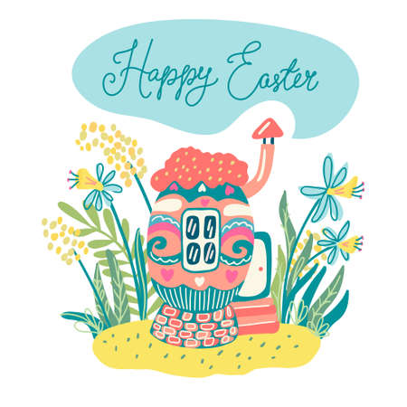 A little cozy egg house surrounded by grass and flowers. Narcissus and mimosa. Hand drawn vector illustration isolated on transparent background. Great for Easter greeting cards and posters.  イラスト・ベクター素材