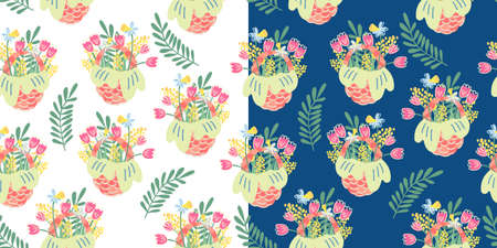 Two vector seamless patterns with nice wicker baskets and spring flowers and leaves. Tulip, mimosa and narcissus. Great for fabrics, wrapping papers, wallpapers, covers. Hand drawn flat illustration