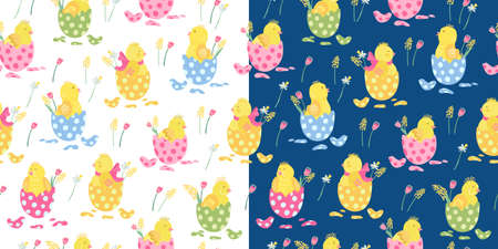 Two vector seamless patterns with colorful easter eggs, flowers, and cute little chickens on white and dark blue. Great for fabrics, wrapping papers, wallpapers, covers. Hand drawn flat illustration.