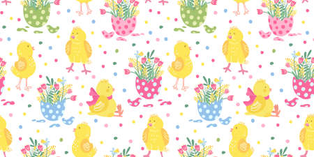 Vector seamless pattern. Cute little chickens and colorful eggs with spring flowers. Daffodils, tulips and mimosa. Great for fabrics, wrapping papers, wallpapers, covers. Easter design.