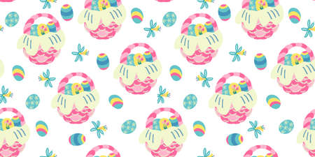 Vector seamless pattern with narcissus flowers and wicker baskets full of Easter colorful eggs. Great for fabrics, wrapping papers, wallpapers, covers. Hand drawn flat illustration. Illusztráció