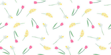 Vector seamless pattern with nice tulip, mimosa and narcissus flowers on white. Great for fabrics, especially for linens, wrapping papers, wallpapers, covers. Hand drawn flat illustration.  イラスト・ベクター素材