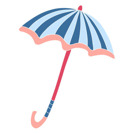 Open striped coral and blue umbrella. Hand drawn flat vector illustration isolated on white background. Ilustração