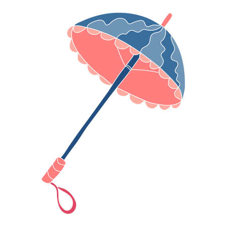 Open vintage coral and blue umbrella. Hand drawn vector illustration Isolated on white background.
