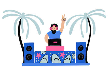 Vector illustration of a joyful dj, palm trees and musical equipment decorated with sharks and starfishes on white. Summertime, beach dance party, vacation. Pink, coral and blue colors. Ilustrace