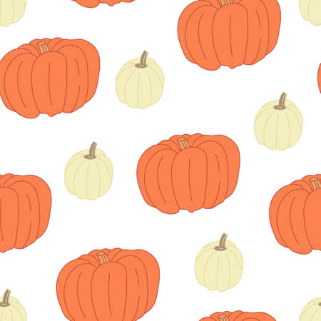 Vector seamless pattern with orange and white pumpkins on white background. Great for fabrics, wrapping papers, wallpapers, covers. Autumn farming garden theme.
