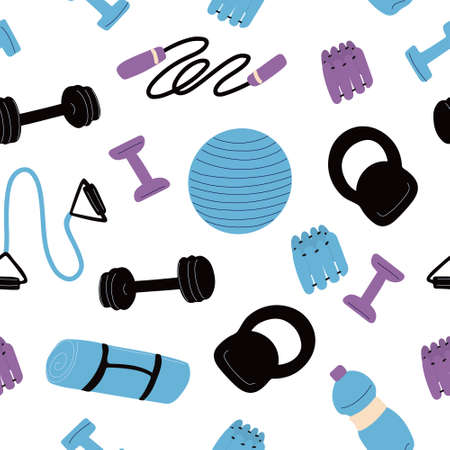 pattern with sports equipment. Workout concept. Dumbbell, kettlebell, jump rope, chest expander, mat, fitness ball, ankle weights. Vector illustration on white background.