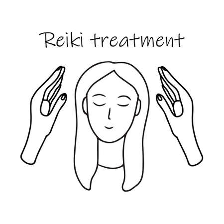 Reiki treatment alternative medicine. Doodle sketch hand drawn vector illustration of woman and healing palms on white background. Isolated outline.
