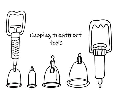 Set of tools for cupping treatment. Alternative medicine. Doodle sketch hand drawn vector illustration of a medical cups and vacuum cupping gun or suction pump on white background. Isolated outline. Vektorgrafik