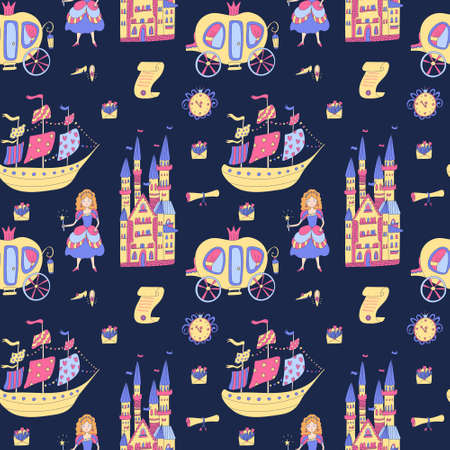 Vector seamless pattern with princess stuff on deep blue. Carriages, castles, ships, scrolls, shoes, wall clocks, envelopes. Great for baby or girls fabrics, wrapping papers, wallpapers, covers.