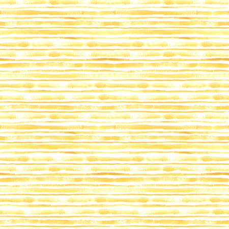 Watercolor yellow striped seamless pattern on white. Great for fabrics, wrapping papers, covers, digital paper. Hand painted endless texture. Smeared grunge stripes.