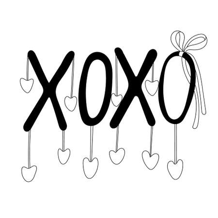 XOXO lettering or phrase decorated with hearts and ribbon bow. Valentine's day decoration. Vector doodle illustration for posters and greeting cards design isolated on white. Black outline. Çizim