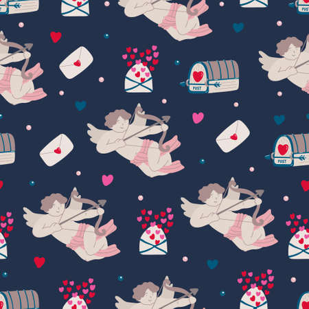Vector vintage seamless pattern with cupids, mailboxes, love letters and hearts for Valentine's day on dark. Pink, red and navy blue colors.