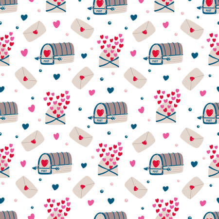 Vector vintage seamless pattern with mailboxes, love letters and hearts for Valentine's day or wedding. Pink, red, brown colors