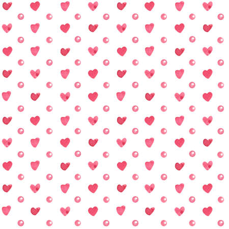 Watercolor seamless pattern with pink pearls or polka dots and hearts on white background.  Hand painted illustration for Valentine's day. Reklamní fotografie