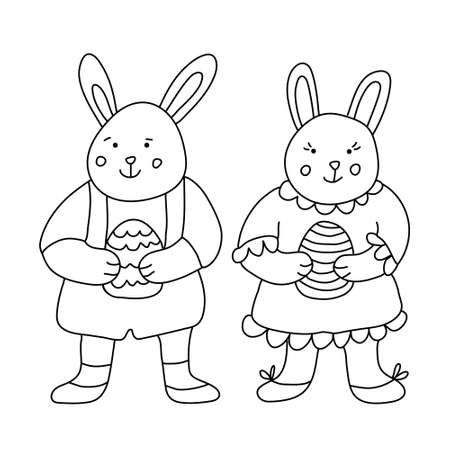 Cute smiling little rabbits or bunnies with Easter eggs. Hand drawn vector illustration isolated on white. Doodle style. Black outline. Single pictures for your Easter design, coloring books, posters