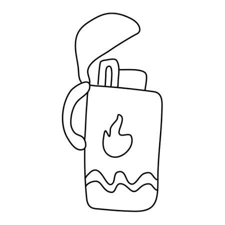 Open lighter decorated with flame. Hand drawn vector illustration in doodle style on white background. Isolated black outline. Camping equipment.