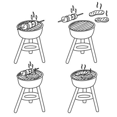 Grilled meat and vegetables. Hand drawn vector illustration of barbecue set in doodle style on white background. Isolated black outline. Camping and bbq equipment.