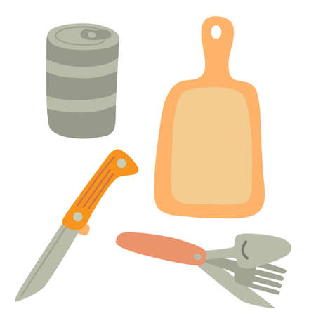 Set for cooking outside. Canning food, folding knife, spoon amd fork. Cutting board. Camping equipment. Vector Illustration