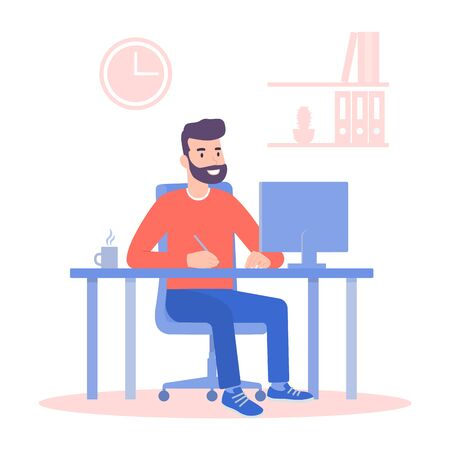A man working on a computer at his Desk. Flat style color modern vector illustration.