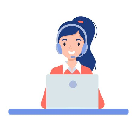 Girl in the headphones. Customer support center via phone. Mail operator service icons concept. Vector illustration in flat style Векторная Иллюстрация