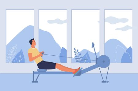 A young man is engaged in a rowing simulator. Vector illustration, side view in flat design style.