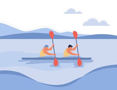 Two guys in a boat floating on the river. Vector illustration in flat design style, the concept of water sports, boating.