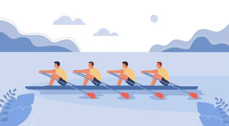 Four athletes swim on a boat. The concept of rowing competitions. Vector illustration, cartoon style.