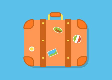 Retro suitcase with stickers from different countries, isolated. Vector illustration in flat style.