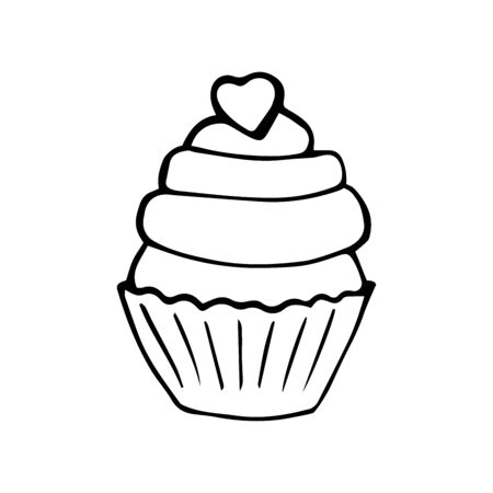 Cupcake with a heart isolated on white, Valentines day concept. Vector hand-drawn illustration.