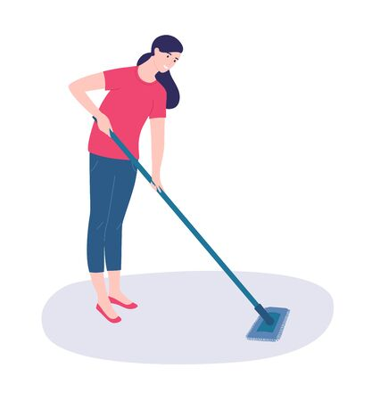 Woman mopping the floor with a MOP. Vector illustration in a modern style. Vectores