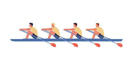 Four athletes swim on a boat, the concept of rowing competitions. Vector illustration, flat style. Illusztráció
