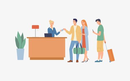 The lobby with the tourists in the queue. Vector modern illustration. Ilustração