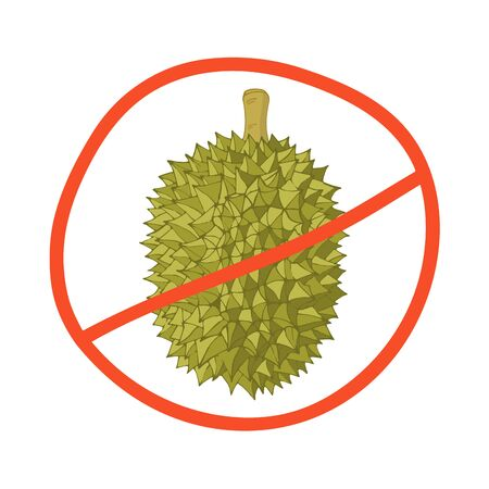 Durian isolated on a white background, a sign of prohibition. Vector hand-drawn illustration.