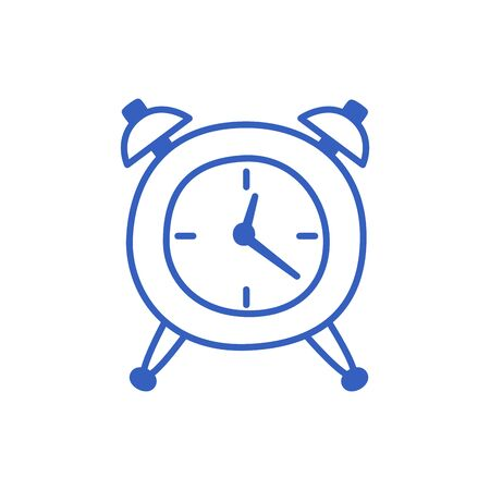 Contour alarm clock isolated on white in Doodle style. Vector hand-drawn illustration. 向量圖像