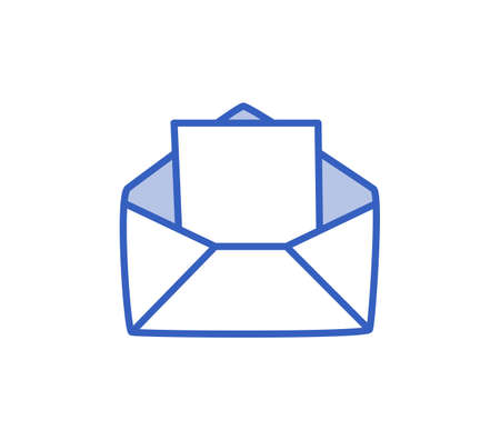 An open envelope with a message, an incoming message. Vector illustration in a hand-drawn style.