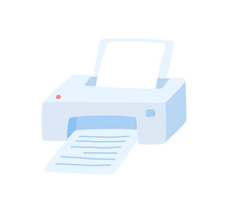 Cute printer with sheets of paper isolated on white. Vector, hand-drawn illustration.
