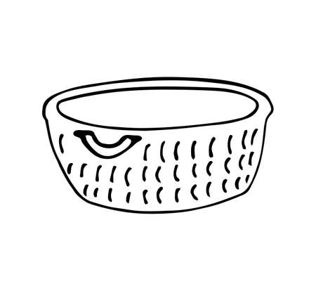 Wicker basket in Doodle style, the concept of hugge, comfort and comfort. Vector contour illustration.