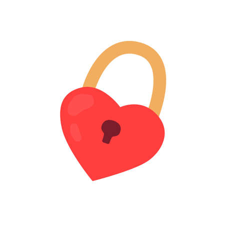 Heart-shaped padlock in hand-drawn style. Vector illustration for creating a design for Valentines Day.  イラスト・ベクター素材