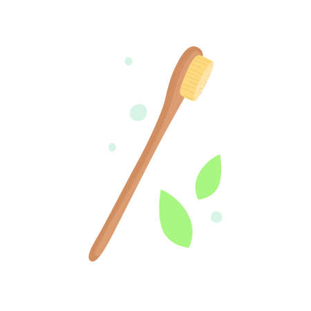 Wooden, bamboo toothbrush, isolated on white background, the concept of ecology, zero waste, natural hygiene products. Modern vector illustration, flat style.