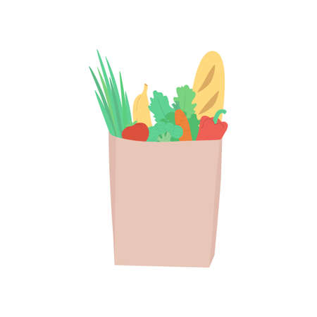 Eco paper bag with purchases in a flat style: fresh vegetables, fruits, salad, greenery. Vector illustration of a eco friendly, green lifestyle, healthy eating, farmers vegetables, farm business support.