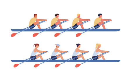 The womens and mens rowing teams sail in boats. Concept of competitions in academic rowing. Vector illustration in flat design.
