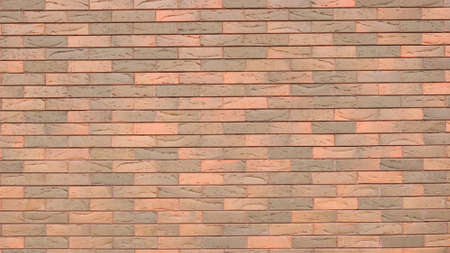 red-brown brick wall background with smooth texture of fresh masonry and perforation lines on the surface of the blocks