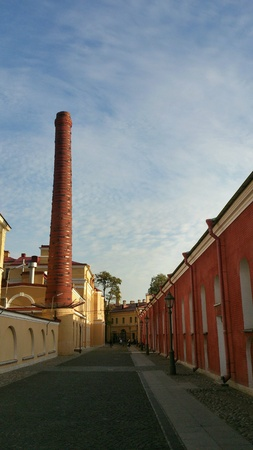 Tube made of bricks near the Troubetzkoy Bastion  in Peter and Paul Fortress in Saint-Petersburg, Ru