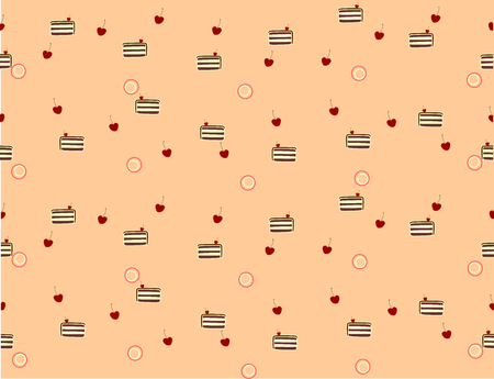 pinky: Nice seamless texture made of pieces of chocolate cake, cherries and little pinky circles Illustration