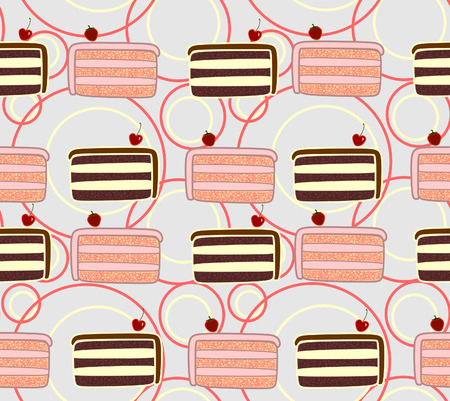 Nice seamless texture made of pieces of brown and pink cake with cherries and strawberries and  pink and yellow circles on light gray background