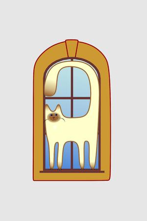 windowsill: cute smiling Siamese cat walking on the windowsill