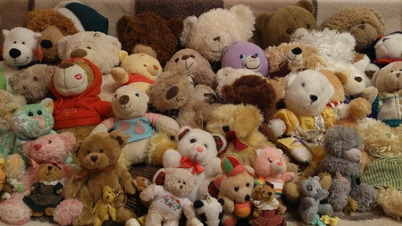 A lot of different teddy bears